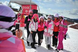 Participants in the Pink Vail fundraiser to fight breast cancer pose for a photo at Eagle's Nest on Vail Mountain on Saturday. Pink Vail raised a total of $386,535 which goes directly to the Shaw Regional Cancer Center's Spirit of Survival program.