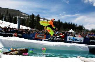 Vail extreme skier Chris Anthony gets some air at the 2009 World Pond Skimming Championships on Vail Mountain.