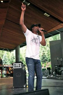 Darius Rucker points to the skies above the Gerald R. Ford Amphitheater as he croons away for his adoring fans. Rucker mixes his country music with classic rock and pop elements.