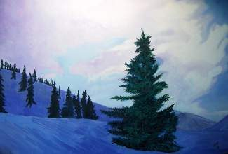 """This painting by Nancy Rondeau, called """"Dawn Comes to the Vail Valley,"""" will be on display along with many others at the Vail Library community room this month."""
