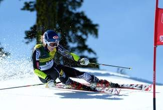 Mikaela Shiffrin tears down the course at Squaw Valley, Calif., on her was to her first giant slalom crown at the Nature Valley U.S. Alpine Championships on Thursday.