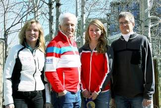 Olympic gold medalist Mikaela Shiffrin has signed a one-year deal with the town of Vail, the town of Avon and the Vail Valley Foundation.From left: Ceil Folz, president, Vail Valley Foundation and 2015 World Championships Organizing Committee; Andy Daly, mayor of Vail; Shiffrin; and Rich Carroll, mayor of Avon