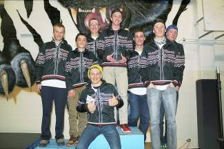 Members of the Eagle Valley High School nordic team celebrate their third place overall finish at the Colorado High School Ski Meet last week.