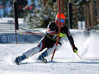 Battle Mountain's Kevan Aubel races to a fourth-place finish during Thursday's slalom at Keystone.