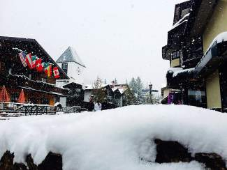 Snow fell steadily throughout the day Wednesday in Vail Village. A winter storm warning has been issued for today through Saturday.