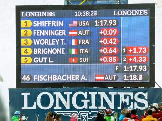 The scoreboard shows Mikaela Shiffrin leading after Run 1 Saturday at the World Cup race in Soelden, Austria.