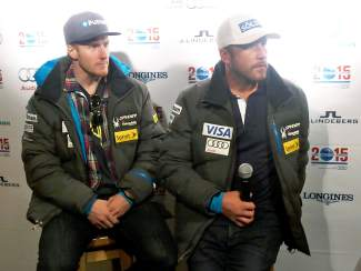 U.S. skiers Ted Ligety, left, and Bode Miller speak at the Vail/Beaver Creek 2015 Alpine World Ski Championships reception in Soelden, Austria.