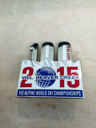 This pin marks 100 days left until the Alpine World Ski Championships in Vail/Beaver Creek, Feb. 2-15.
