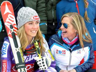 Mikaela Shiffrin, left, and Vail Valley Foundation President Ceil Folz watch the race from the finish line.