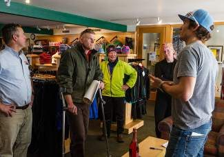 National Champion Nordic skier Sylvan Ellefson, right, chats with well-wishers and supporters during a meet and greet Wednesday at the Vail Nordic Center.
