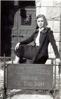Joy Marfitano of Red Cliff stands at the Will Rogers Shrine of the Sun in Colorado Springs on Senior Sneak Day, 1938.