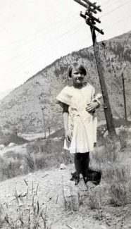 Betty Jo Knight (Schmidt) poses with her doll at Gilman in 1930.