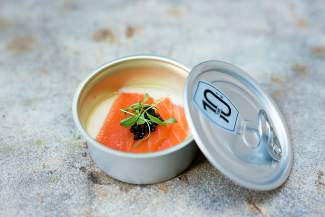 At the Taste of Vail Grand Tasting, The 10th served up these Rations for the Refined Palate: creme fraiche mousse, Champagne gel and house-cure salmon topped with Uruguayan Osetra caviar.