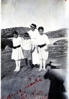 The Quinlan childeren — Mary, Dustin, Florence and Walter — poise along the Eagle River at Wolcott in this 1918 photo.
