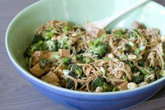 This July 29, 2013 photo shows spicy peanut noodle salad with tofu in Concord, N.H. (AP Photo/Matthew Mead)