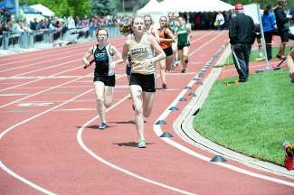 Battle Mountain's Christina Shearon heps the Huskies' 3,200-meter relay to a ninth-place finish at the state meet on Thursday at Denver's Jeffco Stadium.