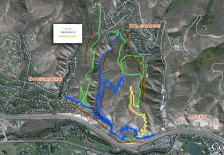 "Two trails on this map of an open space parcel in Avon — the link between Avon and Singletree on the bottom, and the ""saddle ridge"" trail heading north from the community link, are complete or nearly so. The rest may be finished by the end of next summer, thanks to a lot of volunteer work and contributions from the town of Avon."