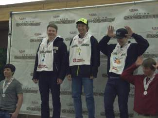 Florian Szwebel, Ski & Snowboard Club Vail athlete and Vail Ski & Snowboard Academy junior, tops the podium as men's overall champion of the U18 National Junior Championships held from Feb. 28 to March 6 at Cooper Mountain.