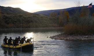 The U.S rafting team runs slalom drills around hanging gates during a late October training session at Dotsero.  The team, who are all from either Vail, Carbondale or Breckenridge, head to New Zealand in November to compete in the Rafting World Championships.
