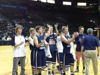 Vail Christian basketball thanks its fans on Friday after being knocked out of the state tournament by Norwood, 68-47, at the Budweiser Events Center in Loveland.