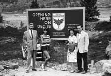Daily file photoThe start of construction on Gasthof Gramshammer. Left to right: Ernst Payer, Austrian architect from Cleveland; Sheika Gramshammer; and Widge and John Ferguson, Pepi's attorney.