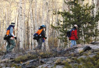 Bret Hartman/Vail DailyOne of the many rescue crews  hikes out of the Holy Cross Wilderness on the Cross Creek Trail near Minturn, Saturday.