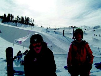Special to the Daliy Ski and Snowboard Club Vail's Andrew Jones, left, and  Collin Scott goof around at an SOS halpipe event at Steamboat last month.