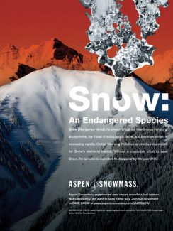 Courtesy Aspen Skiing Co.A new series of Aspen Skiing Co. ads warn potential visitors that global warming could devastate the regional ski industry by the end of this century.