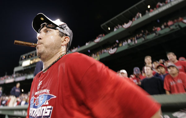 43af68bbb Winslow Townson APBoston Red Sox pitcher Josh Beckett takes the field for a  post-game celebration after the Red Sox beat the Cleveland Indians in Game  7 of ...