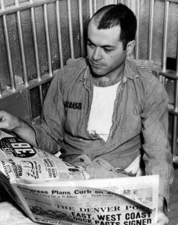 Courtesy/Denver Public LibraryJim Sherbondy, who killed Eagle County's undersheriff in 1937, reads a newspaper in his prison cell at the State Penitentiary in Canon City in this 1950.