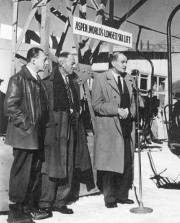 Courtesy Aspen Historical SocietyWalter Paepcke and Aspen Mayor Gene Robinson listen to newly elected Gov. K. Lee Knous, right, issue a proclamation at the dedication of Lift 1 on Aspen Mountain on Jan. 11, 1947.