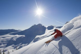 ** FOR IMMEDIATE RELEASE ** This undated photo provided by Tourism Whistler shows a skier on the slopes in Whistler, British Columbia. (AP Photo/Eric Berger)