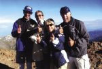 Big thumbs up to Jeff Snyder, center, for finishing his final Colorado 14er, Uncompahgre. Accompanying him included good friends and climbing veterans Maldy Zang, left, Ken Harper, right, wife Pam and Cedric, a Jack Russel. Between Jeff, Maldy, Ken and Cedric, their combined 14er summits are 205 ... or more!