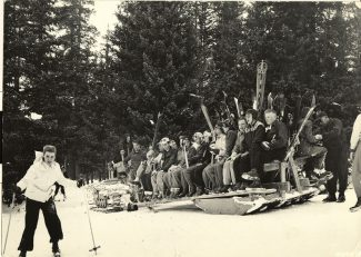 Special to the Dailya sled used to transport skiers up Loveland. Skiing at Loveland Basin began in 1936 with a rope tow and was powered by a Model T engine the following season.