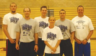 Some of the coaches at next week's NOD Basketball Academy are, from left, pro player Kirk Archibeque, former Valparaiso University guard Jon Kedrowski, former Valparaiso player Chris Tomer, local coach and former Eagle Valley player Sarah Brubeck, Fort Lewis College assistant coach Bob Pietrack and former Eagle Valley and Grand Junction Central coach Phil Cain.