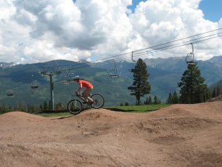 Sara Lococo | Special to the DailyTammy Donahugh from International Mountain Bicycling Association tests out the new Gore Range Pump Track at Vail Mountain.