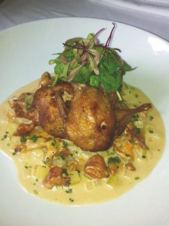 Special to the DailyChef Paul Ferzacca said his pan-roasted Rocky Mountain quail with Olathe sweet corn, chanterelle mushroom and potato fricasse is easy for the home cook to make.