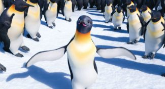 """In this image released by Warner Bros. Pictures, Gloria, voiced by Alecia """"P!NK"""" Moore, center, is shown in a scene from the animated feature """"Happy Feet Two."""" (AP Photo/Warner Bros. Pictures)"""