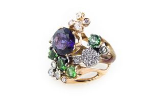 Special to the DailyFederica Rettore designed this 18-karat rose gold and steel ring with gemstones and diamonds.