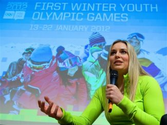 Lindsey Vonn of the United States speaks in the Olympic cultural centre to young athletes during the first winter Youth Olympic Games in Innsbruck, Austria, Thursday, Jan. 19, 2012.  (AP Photo/Kerstin Joensson)