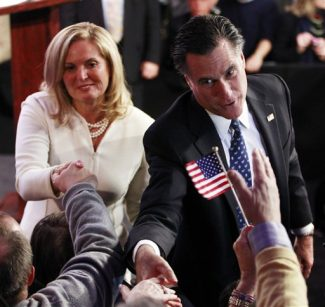 Republican presidential candidate, former Massachusetts Gov. Mitt Romney, and wife Ann celebrate his New Hampshire primary election win in Manchester, N.H., Tuesday, Jan. 10, 2012. (AP Photo/Charles Dharapak)