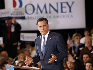 Republican presidential candidate, former Massachusetts Gov. Mitt Romney, speaks to supporters at his election watch party after winning the Michigan primary in Novi, Mich., Tuesday, Feb. 28, 2012. (AP Photo/Gerald Herbert)