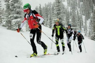 Jeremy SwansonBryan Wickenhauser leads John Gatson, Scott Simmons and Pete Gatson up Burnt Mountain near Snowmass during the Power of Four Ski Mountaineering Race on Sunday.