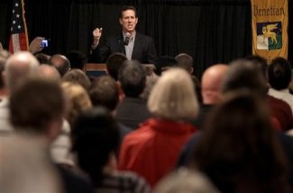 Republican presidential candidate, former Pennsylvania Sen. Rick Santorum speaks during a rally, Monday, March 19, 2012, in Rockford, Ill. (AP Photo/Charlie Riedel)
