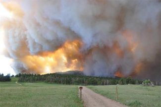 (Courtesy of North Forty News)Smoke column from High Park Fire rises above Old Flowers Road near Stove Prairie in Larimer County on Saturday, June 9, 2012.