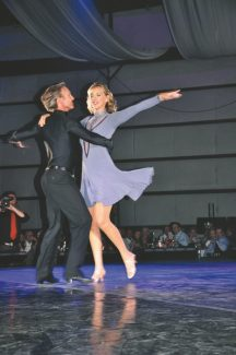"Professional dancer Colin Meiring spins Lynda Gustafson during their Cha Cha performance to ""Don't Stop Believing"" during the Star Dancing Gala."