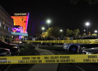 Karl Gehring/The Denver PostAurora Police responded to the Century 16 movie theater early Friday morning, July 20, 2012. Scanner traffic indicates that dozens of people were hurt in a shooting inside the theater.