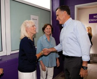 Special to the DailyKaye Ferry, left, chair of Eagle County Republicans, and Frieda Wallison, center, chair of Pitkin County Republicans, hosted Mitt Romney on Aug. 2 in Basalt, drawing more than 1,000 people, including about 25 from Eagle County.