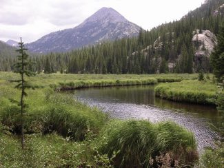 Heather McGregor | Post IndependentReed's Meadow is a long expanse of wetlands in the Cross Creek Valley. The creek drains from higher valleys to the left and right of Middle Mountain, center.