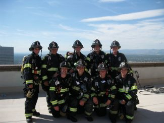 Members of Vail Fire participated in the Denver 9/11 Stair Climb this year.  They climbed a total of 110 flights of stairs in honor of the 343 firefighters who lost their lives on 9/11. Pictured from left to right top row: Chad Cristia, Anders Hendrickson, Zak Miller, Joey Mervis, and James Petterson.